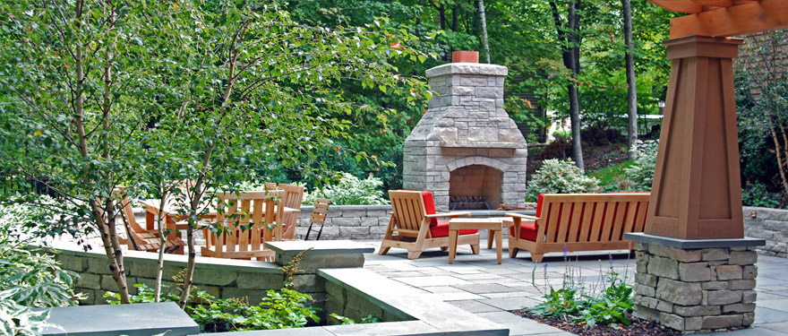 landscape design patio with fireplace in Minnesota