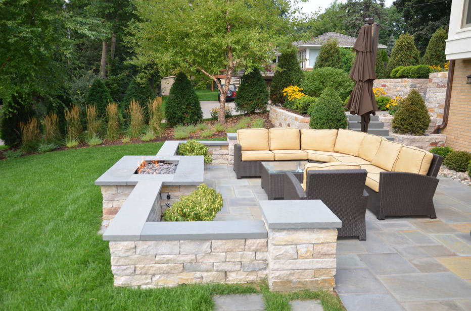 Outdoor Gas Fireplace on Patio