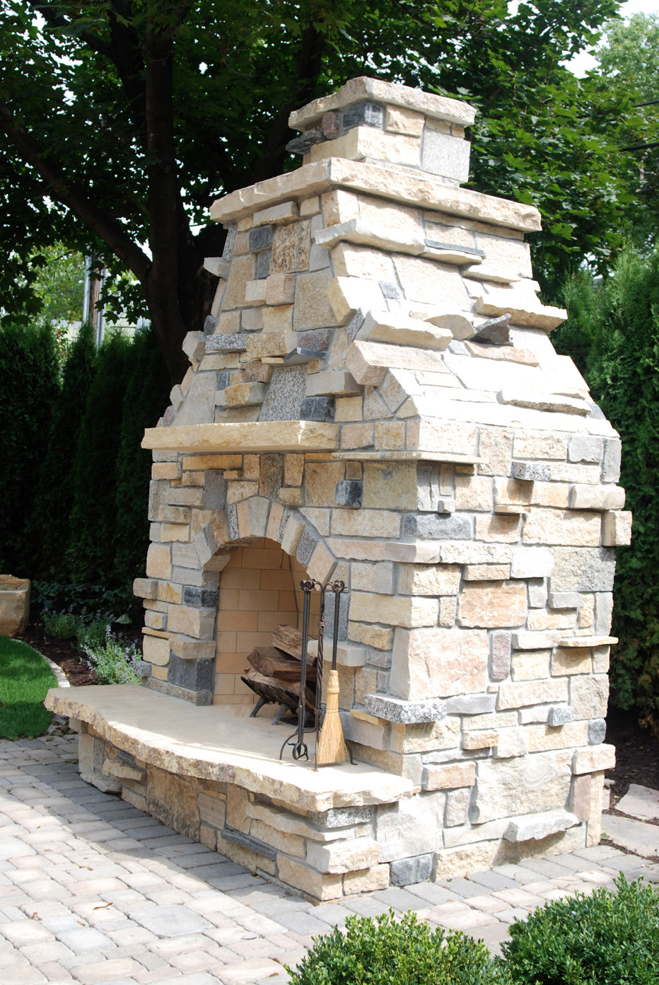 Stone Vertical Outdoor Fireplace