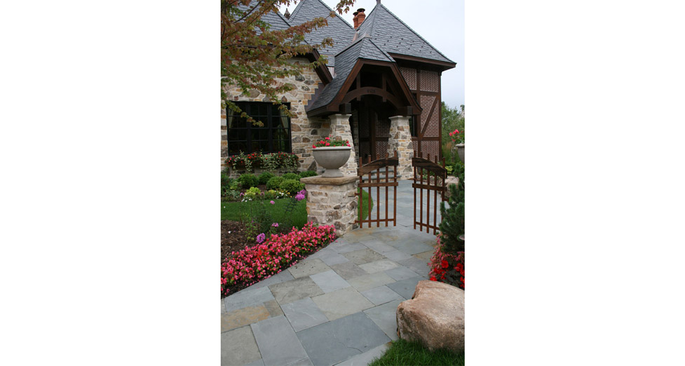 Bluestone Front Entry with Custom Wooden Gate