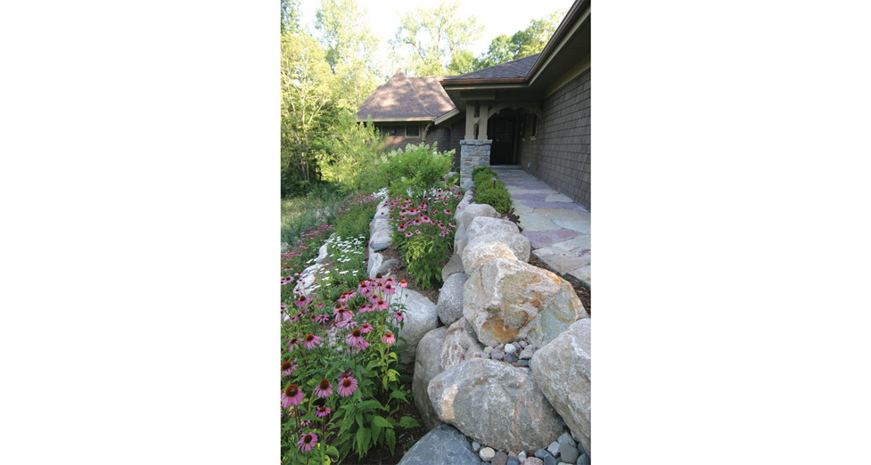 Front Entry with Boulder Retaining Wall and Natural Planting.