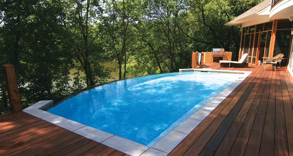 This Beautifully Constructed Concrete Pool was Built-in to a Wood Deck Overlooking a Small Lake.