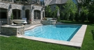 """This """"Neighboorhood Home"""" Required a Custom Concrete Pool to Fit in the Space Without Taking Over the Entire Backyard."""