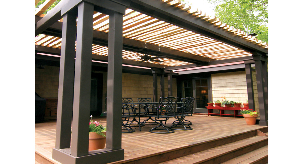 "Custom Wood Arbor Using ""Split Rail Wood"" for Screening to Create the ""Rustic Charm""."