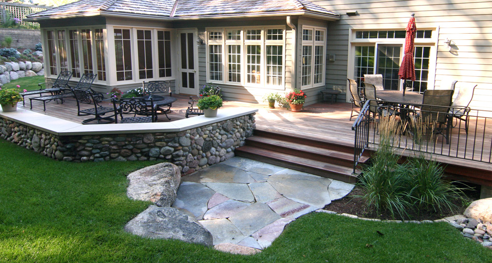 """Deck Enhancement"" with Mortared Field Stone Seating Wall, Boulder Retaining & Chilton Limestone Path."