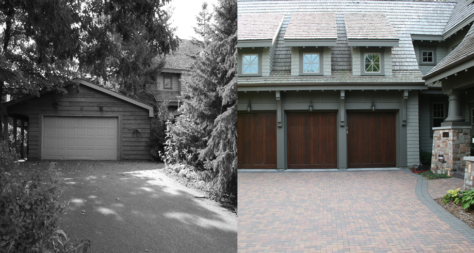 This Tear-Down Garage was Rebuilt and New Paver Driveway and Walkway Installed Along with New Planting Beds and Plant Material.