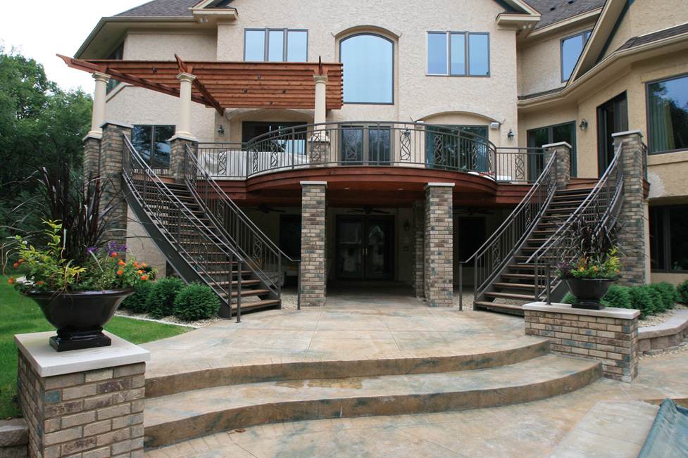 Remodeled Deck with Custom Metal Railings and Staircase Added