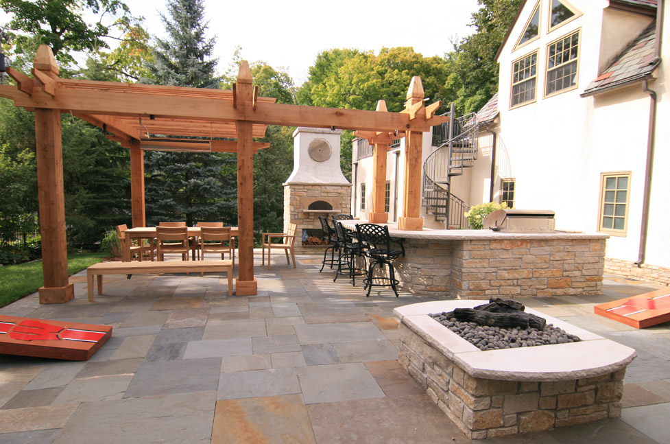 Custom Pergola with Fire Pit, Wood Burning Pizza Oven and Outdoor Kitchen
