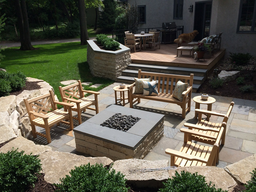 Landscape design minnetonka mn yardscapes for Fireplace on raised deck