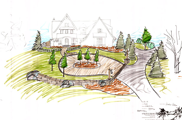 Front Entrance and Driveway Drawing Farmington, MN