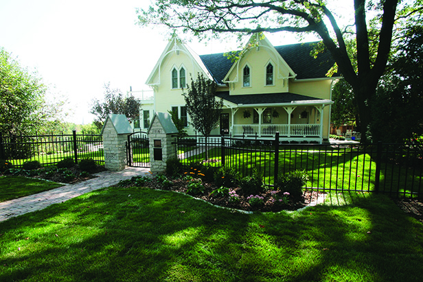 Historic Stillwater Minnesota Remodel Landscaping_Front Entry with Metal Fencing