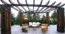 Custom Metal and Cedar Arbor with Westminster Teak Furniture and Gardenstone Planters