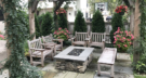 Intimate Bluestone Patio with Limestone Gas Fire Pit and Cedar Arbor