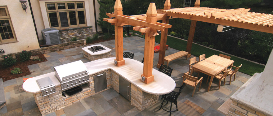 Outdoor Kitchen on Patio with Fire Pit Minneapolis, MN