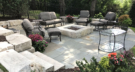 Sunken Bluestone Patio Retained with Boulders and a Limestone Mortared Fire Pit