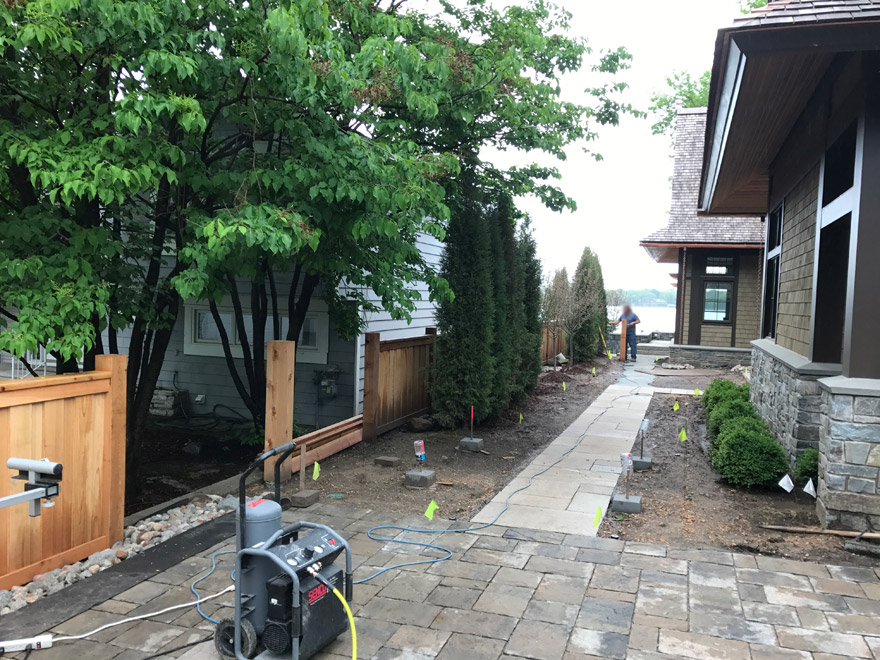 Front Entry with Cedar Fence Installation