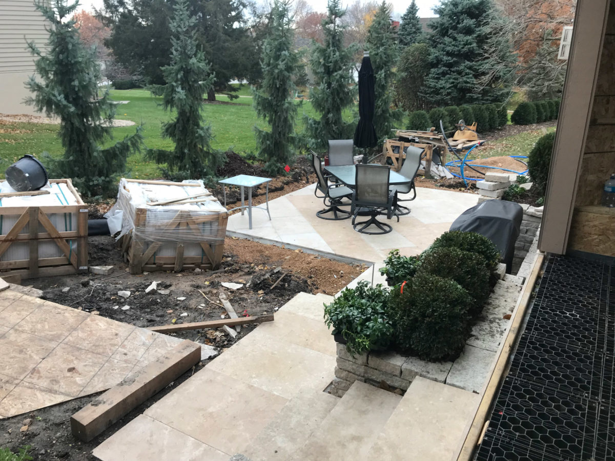 Limestone Steps for Path to Patio in Eden Prairie
