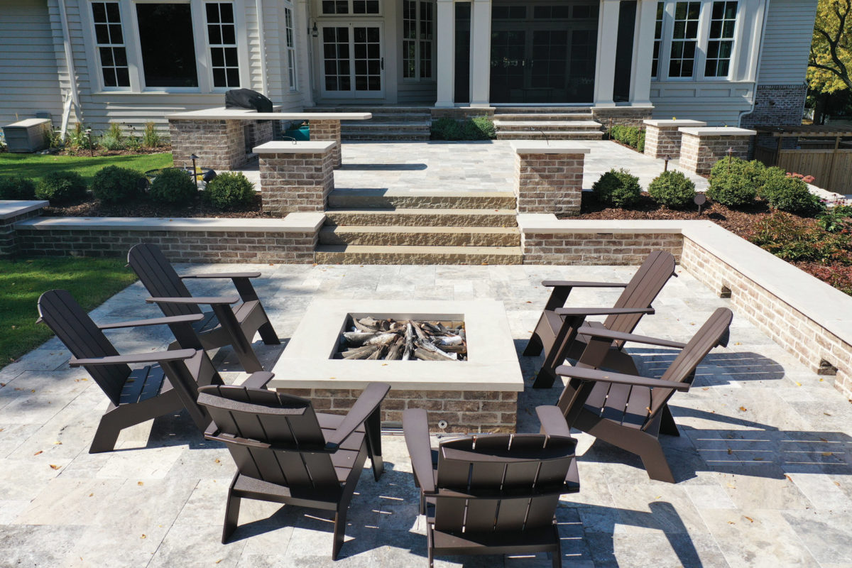 Edina, MN Clay Brick Outdoor Kit with Pillars and Seating Wall around Fire Feature
