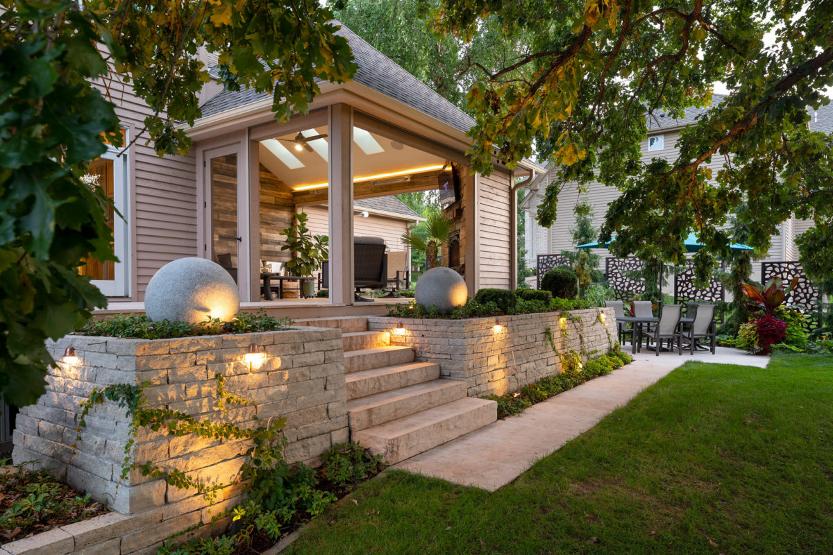 Granite Spheres, Plantings and Low Voltage LED Lighting Installation in Eden Prairie