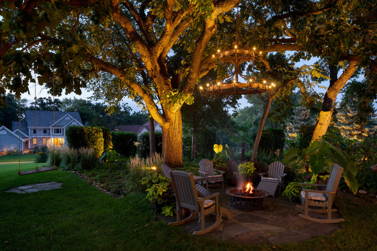 Fire Pit, Patio and Outdoor Chandelier in Eden Prairie