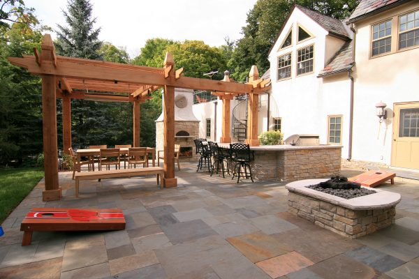 Gas Stone Firepit and Cedar Arbor for Backyard Entertaining