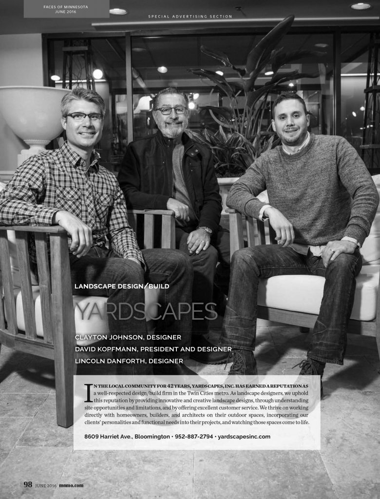 Faces of Landscape Design/Build Minnesota Monthly 2016