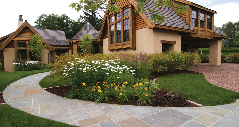 "This Home was Designed Using a ""Mix of Materials""; So We Mimic that using Irregular Bluestone and Oldworld Pavers."