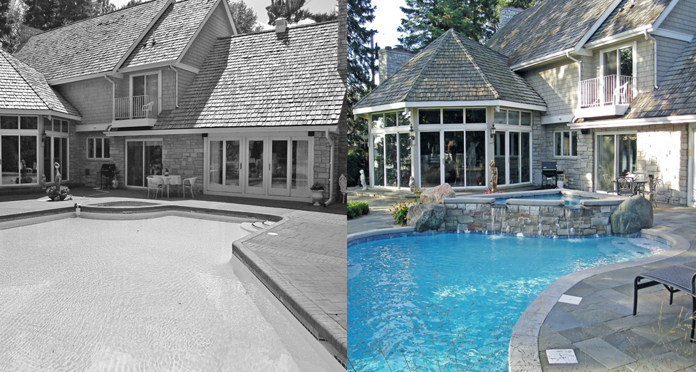 An existing concrete pool, spa and pool deck are replaced with a custom concrete pool, raised spa and bluestone pool deck