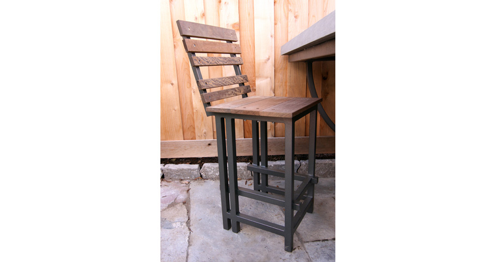Custom Metal and Wood Slat Barstool Chair