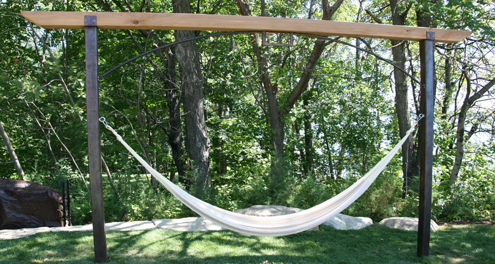 Custom Metal and Woodbeam Hammock Stand.