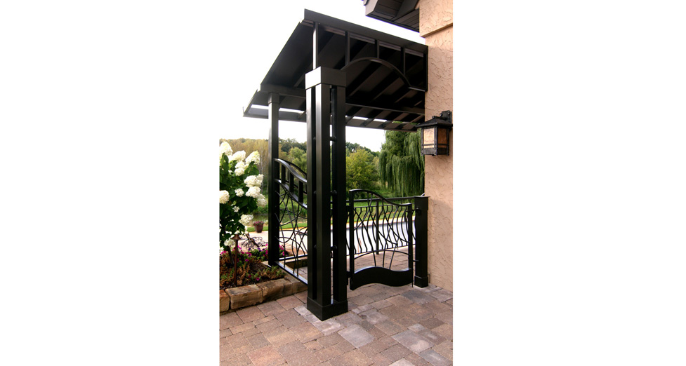 Custom Metal Covered Walkway and Gate.