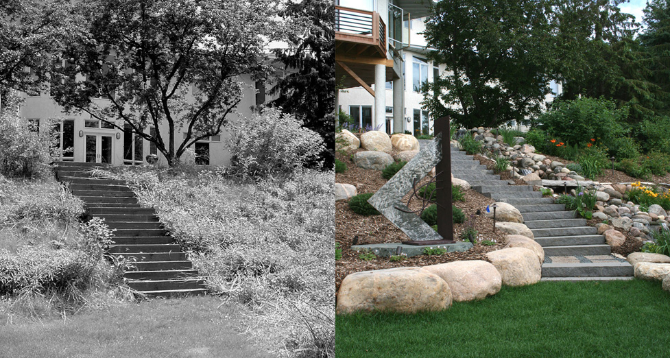 We Removed Existing Timber Steps and Installation New Granite stairs with Water Feature and Custom Sculpture Designed by Dave Kopfmann.