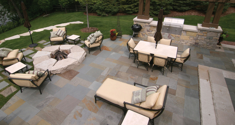 """Hill Top"" Entertaining Space with Bluestone Patio, Outdoor Kitchen, & Raised Limestone Firepit"