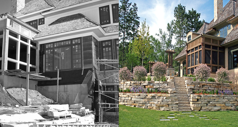 Limestone outcropping retaining walls and steps lead from the lake to a bluestone patio, outdoor kitchen and fire pit