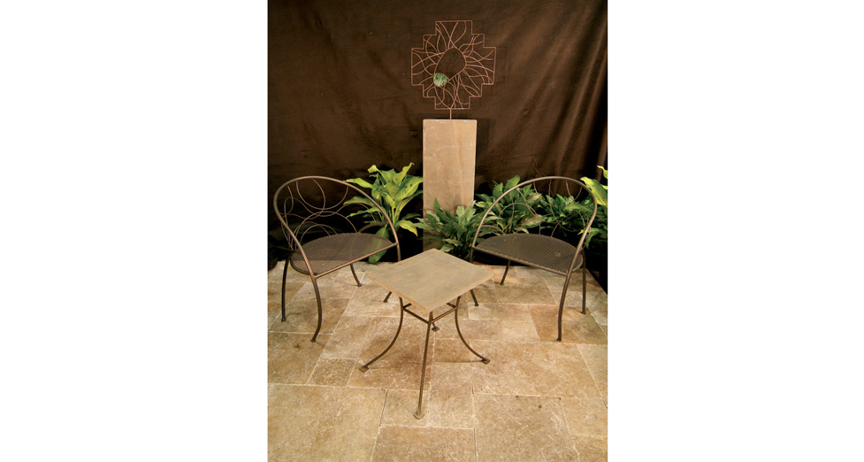 Metal Conversation Furniture with Bluestone Table Top