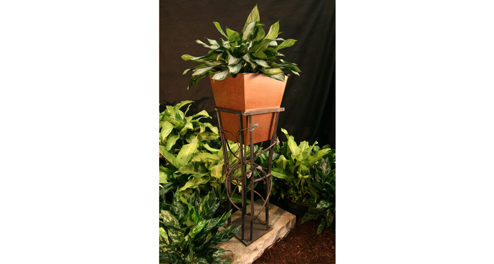 "Metal Planter and Stand - 17.5"" x 50"""