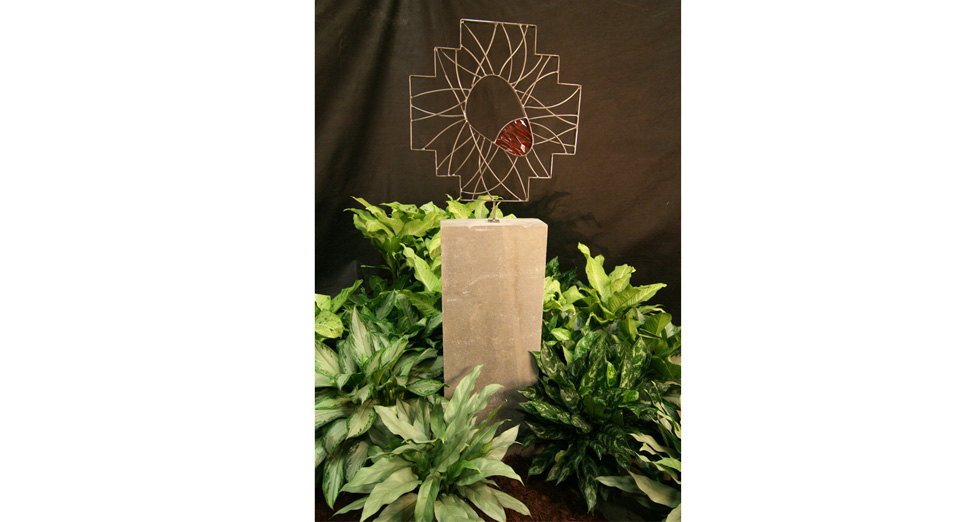 "Metal Sculpture with Acrylic Accent on a Stone Column - 24"" x 36"""