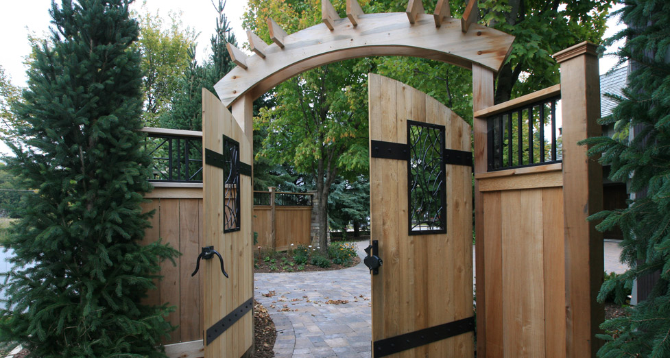Cedar Wood Arbor Gate System with Metal Accents