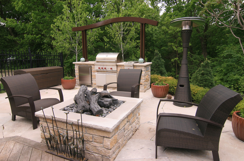 Metal Arbor over Outdoor Kitchen, Fire Pit