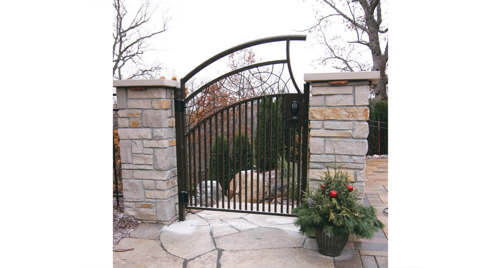 Metal Gate, Mortared Stone Limestone Pillars, Limestone Fond Du Lac Walkway thru gate