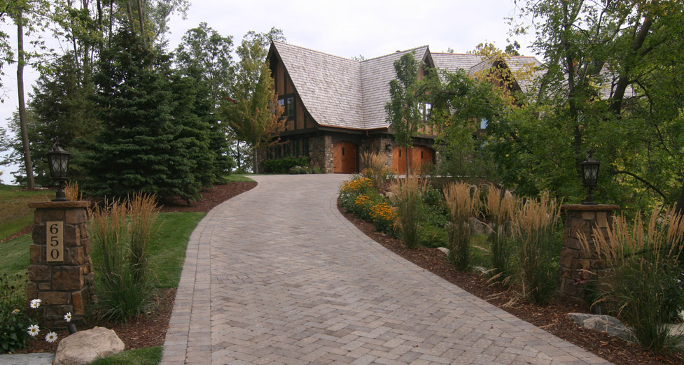 Paver Driveway, Brick address pillars, plantings
