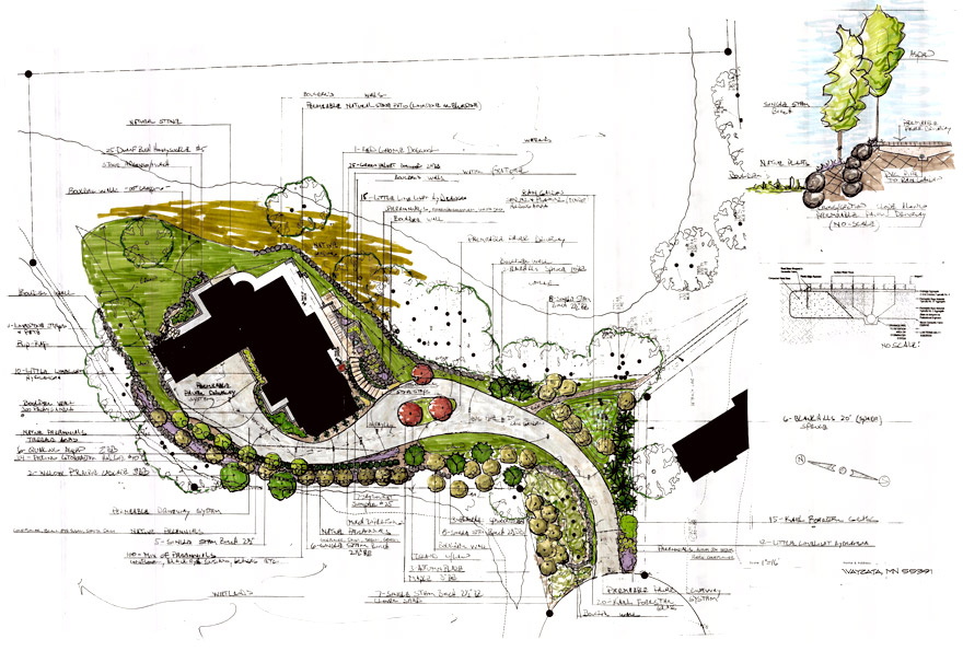 Wayzata, MN Landscape Design Plan for Front Entry and Driveway