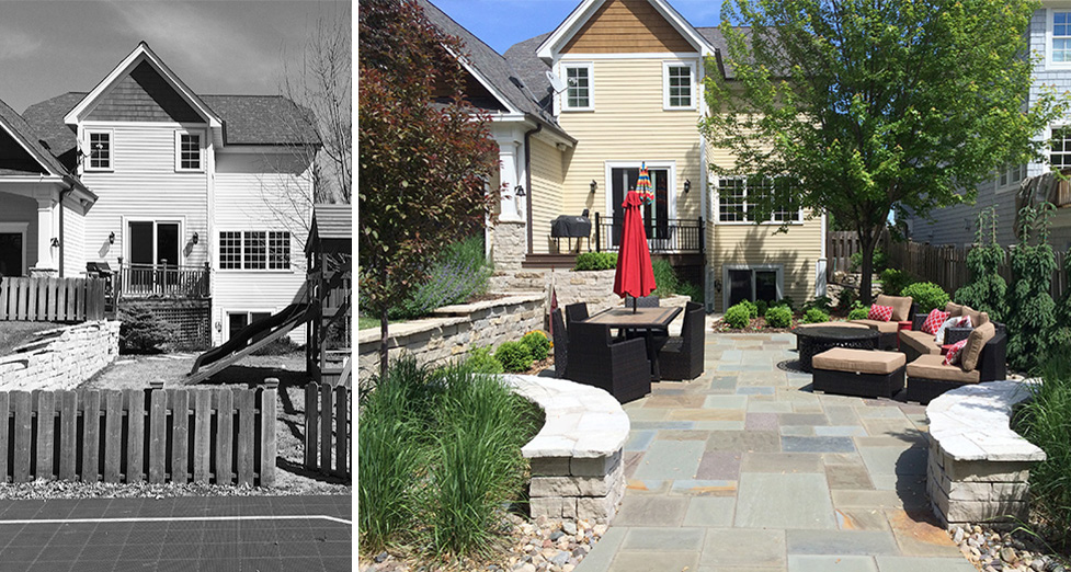 Edina Minnesota Backyard Remodel With Seating Walls And Bluestone Patio  Before And After