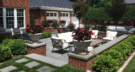 Edina Minnesota Entertaing Space was Redesigned with a Sunken Bluestone Patio Surrounded by Mortared Brick Retaining Wall