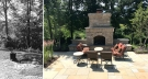 Before and after Firepit transformed into mortared brick fireplace