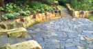 Granite Paver Patio with St. Paul Courthouse Stone Seating Walls for Entertaining
