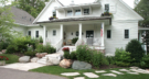 Lake Minnetonka New England Cottage Style New Construction Front Entry with Flagstone Walkway and Boulder Accents