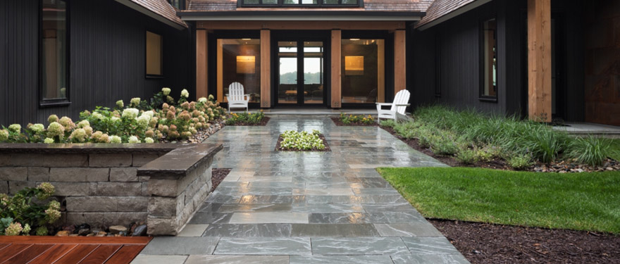 Tiled Front Entry Walking Path and Landscaping