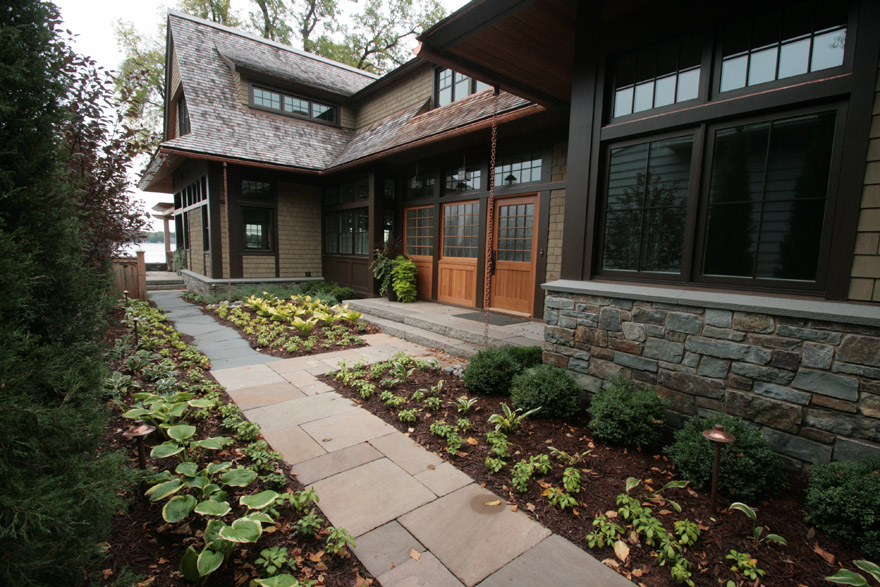 Front Entry Walkway with Landscape Plantings
