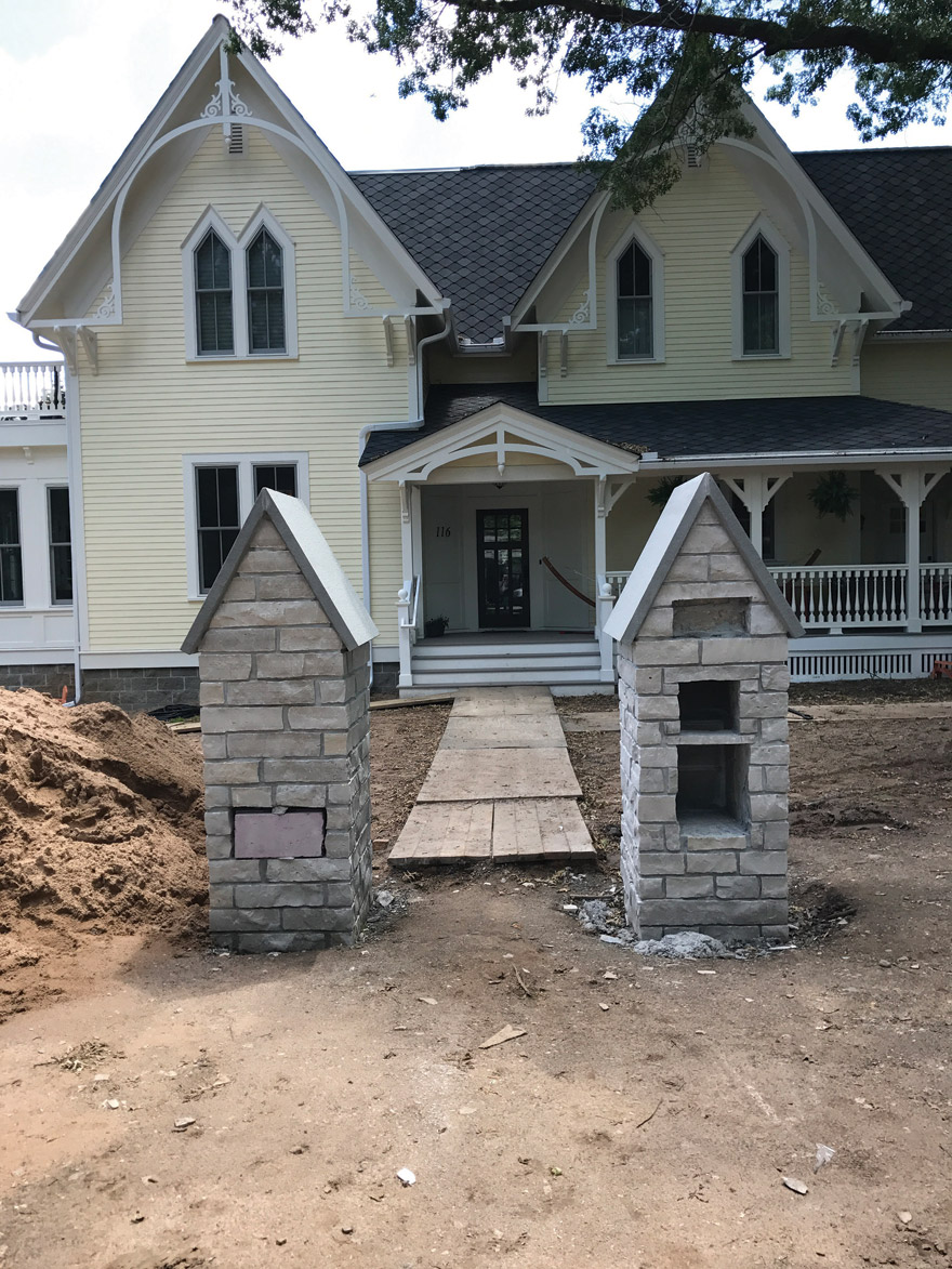 Mortared Limestone Pillars in Stillwater, MN